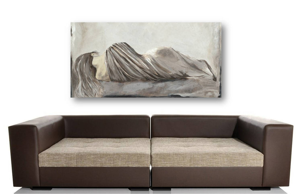 Extra large oversized bedroom wall art figurative sexy woman canvas print white artwork