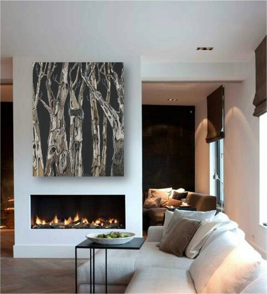 Extra large wall art black and white print masculine decor trees canvas modern landscape