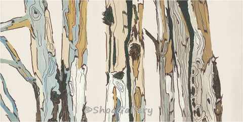 white wall art tree trunks