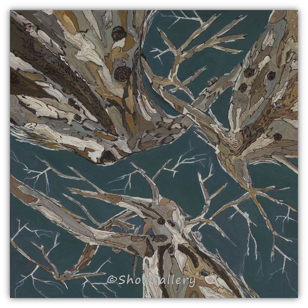 large wall art blue trees