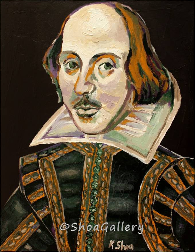 William Shakespeare portrait canvas print black gold artwork home office decor wall art