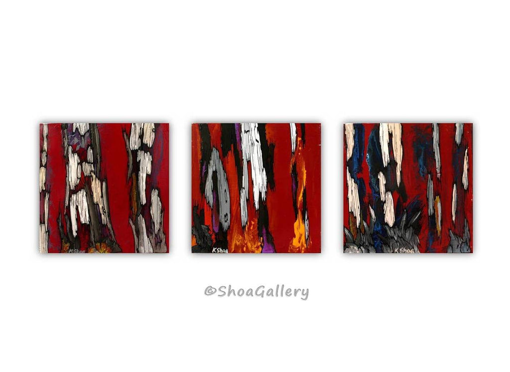 ORIGINAL small red painting of tree trunks wall art modern abstract artwork