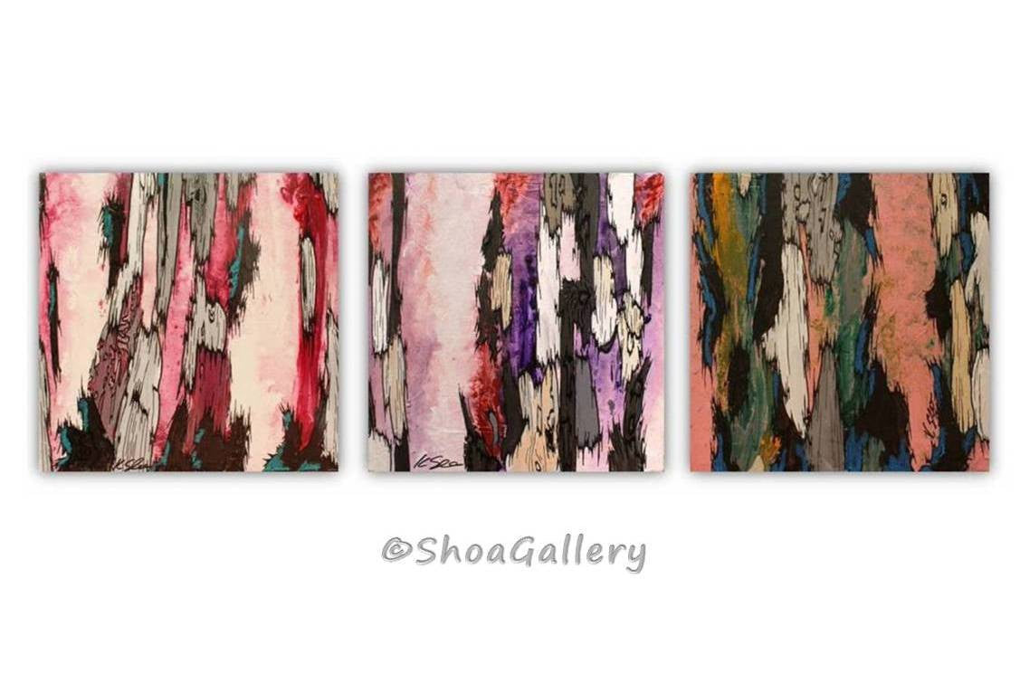 Gift for her ORIGINAL triptych wall art painting set pink red purple abstract trees abstract artwork