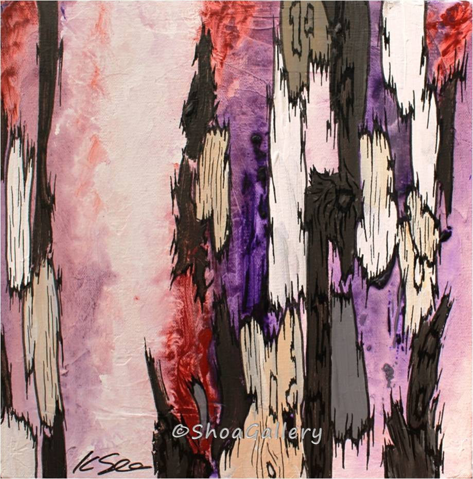 original paintings, pink artwork, purple wall art, abstract painting, abstract wall art, small set of 3 paintings, abstract landscape, abstract tree art, tree canvas art, baby girl nursery wall art, wall art pink, original wall art, purple and pink painting