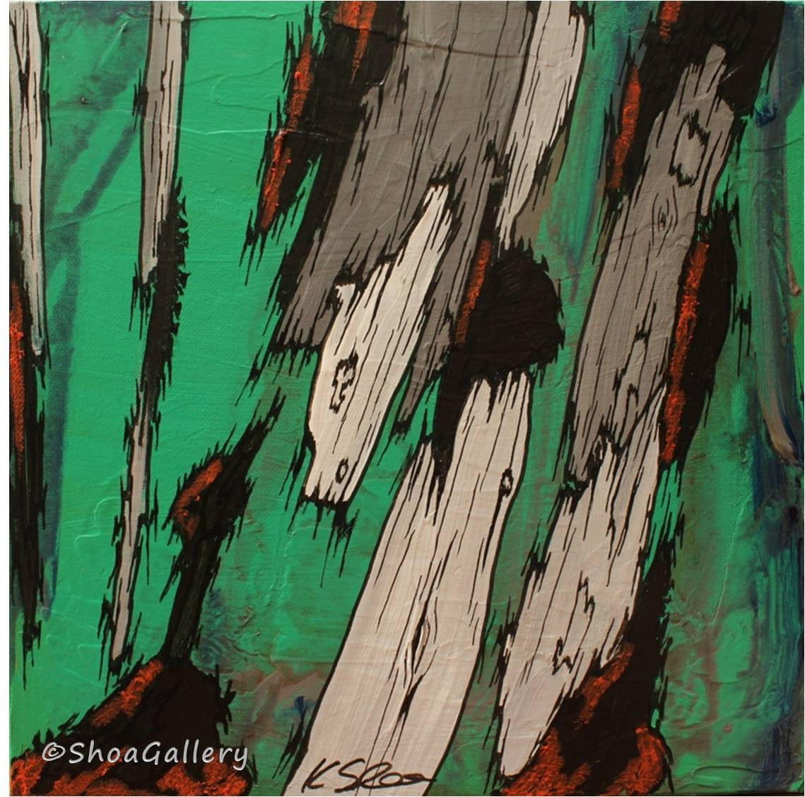 ORIGINAL green acrylic painting wall art tree trunks canvas artwork modern decor