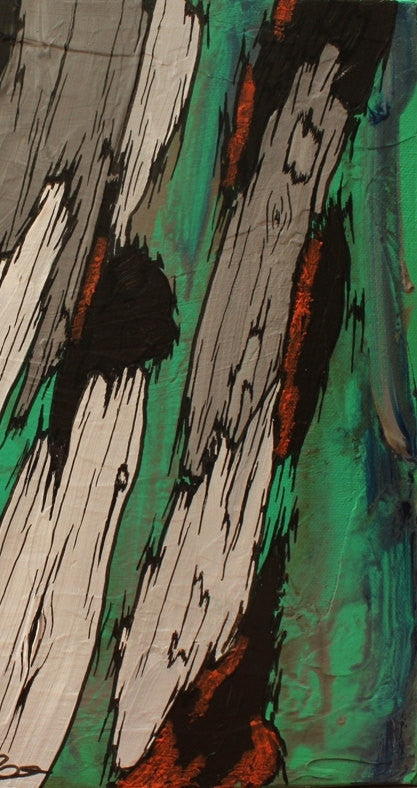 ORIGINAL green acrylic abstract painting wall art tree trunks canvas artwork modern masculine decor