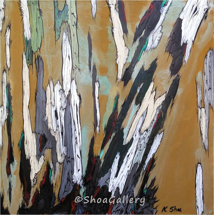 Large wall art ORIGINAL acrylic painting modern abstract landscape trees masculine decor