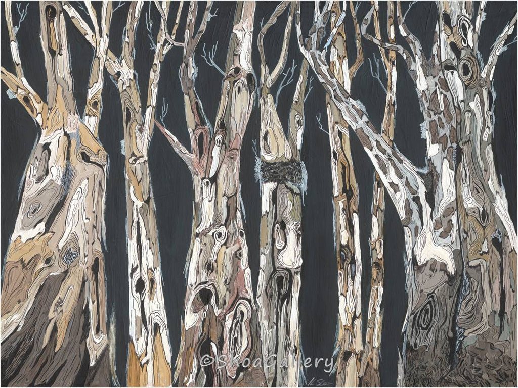 oversized artwork trees trunk landscape
