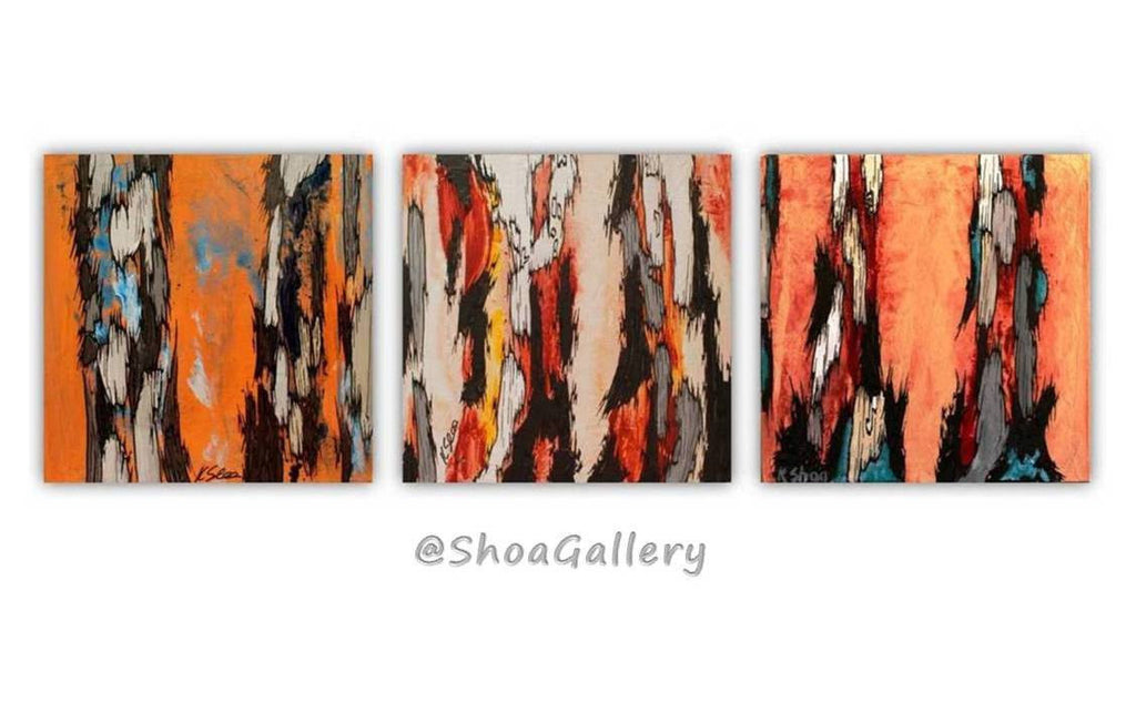 original set of 3 paintings, original orange paintings, abstract original artwork, abstract tree art, painting of tree trunks, orange home design, orange bathroom decor, long horizontal wall art, bedroom orange wall art, living room wall art, dining room wall art, orange home decor, gift for her, gift to impress her, orange gift