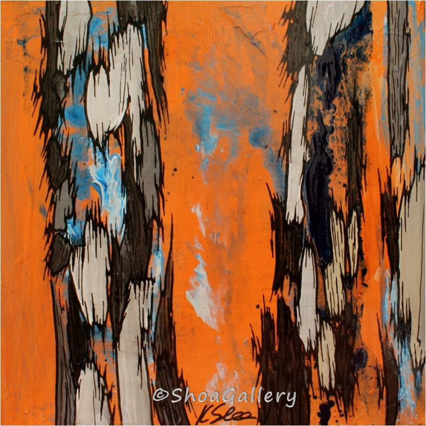 original small painting, abstract original painting, abstract orange oil painting, original acrylic painting, small set of 3 paintings, horizontal long wall art, vertical long wall art, cute gift for her, abstract tree art, bathroom wall art, colorful home decor, bedroom orange decor, living room colorful decor, dining room colorful decor