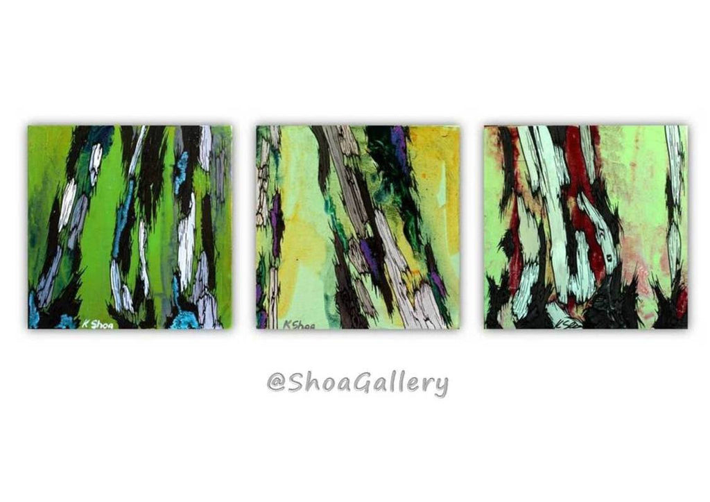 original paintings set of 3, green paintings, chartreuse wall art, small paintings, acrylic green paintings, horizontal wall art, office decor, bedroom wall art, living room wall art, dining room wall art, abstract paintings, abstract tree art, abstract canvas art, small canvas art, canvas tree art, tree trunks, shoa gallery, tree trunks artwork