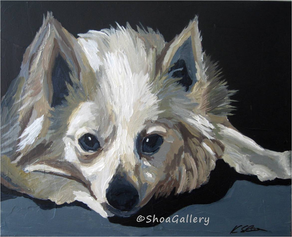 original painting of dog, american eskimo wall art, german spitz painting, portrait of dog, pet portrait, black and white wall art, original black and white painting, gift for dog lovers, original painting of eskie dog, bedroom wall art, living room wall art, office wall decor, black and white wall decor, animal portrait, resting dog portrait, painting of resting dog, cute gift for him, cute gift for her