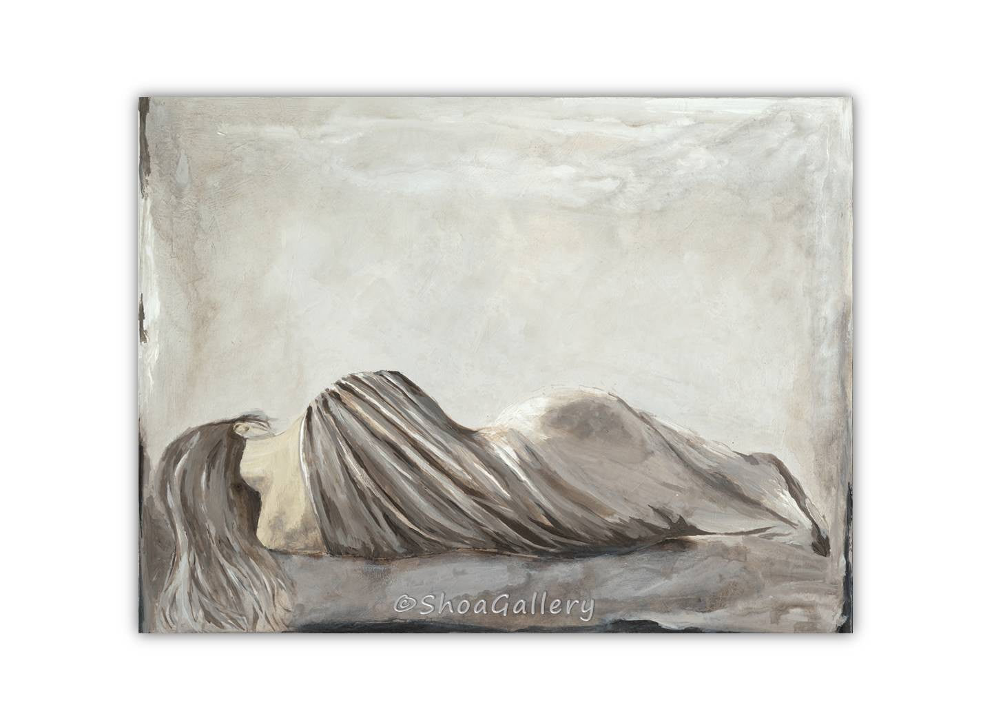 ORIGINAL large acrylic painting greige artwork sexy woman figurative canvas art gray neutral taupe bedroom decor