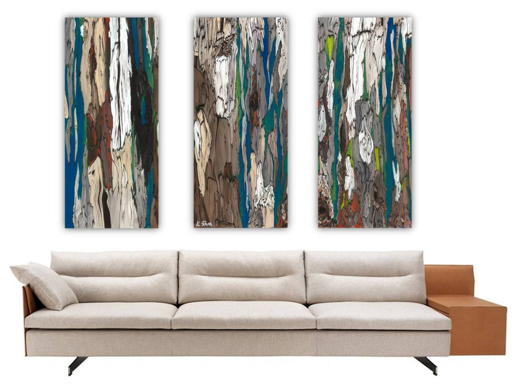 Extra large triptych set wall art canvas prints trees blue for Extra large wall art