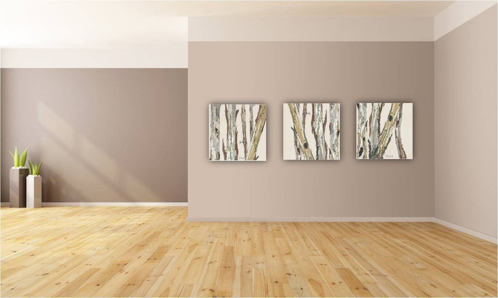 Oversized triptych set extra large wall art neutral white canvas print birch tree trunks living room