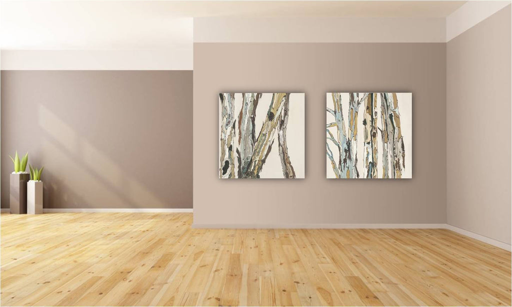 White extra LARGE wall art diptych set modern rustic canvas print tree pastels artwork
