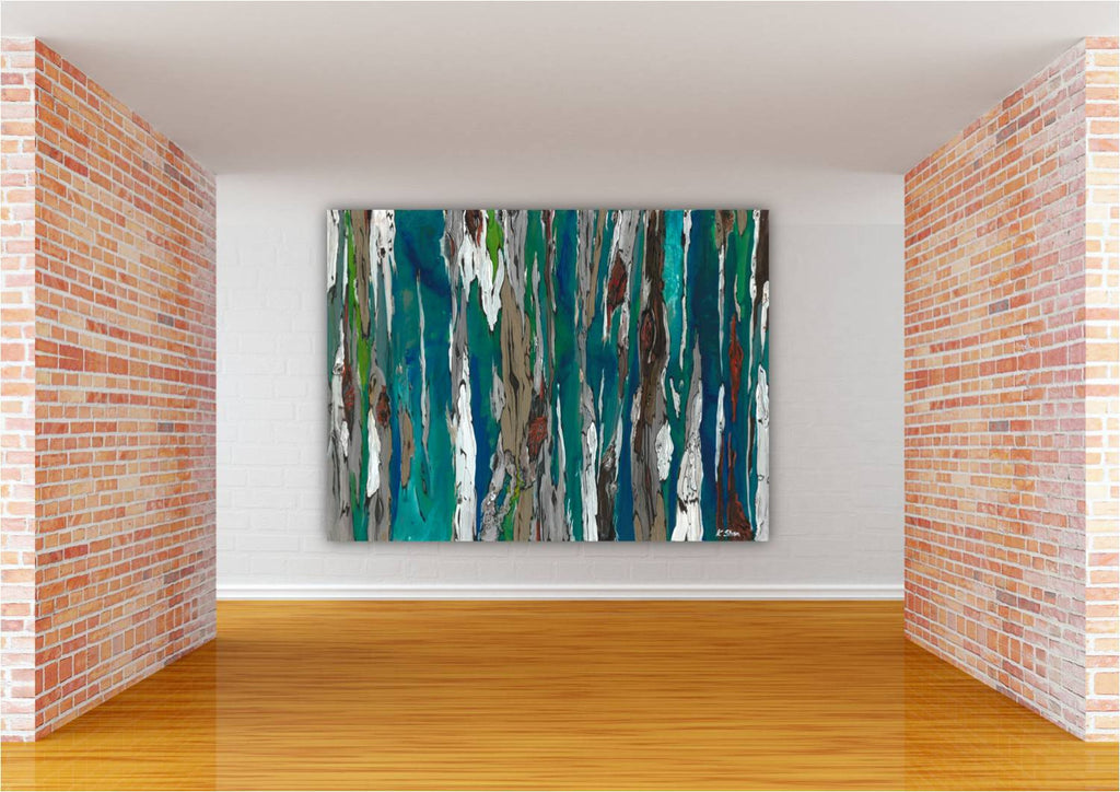 Extra large wall art oversized blue canvas print abstract landscape trees teal bedroom