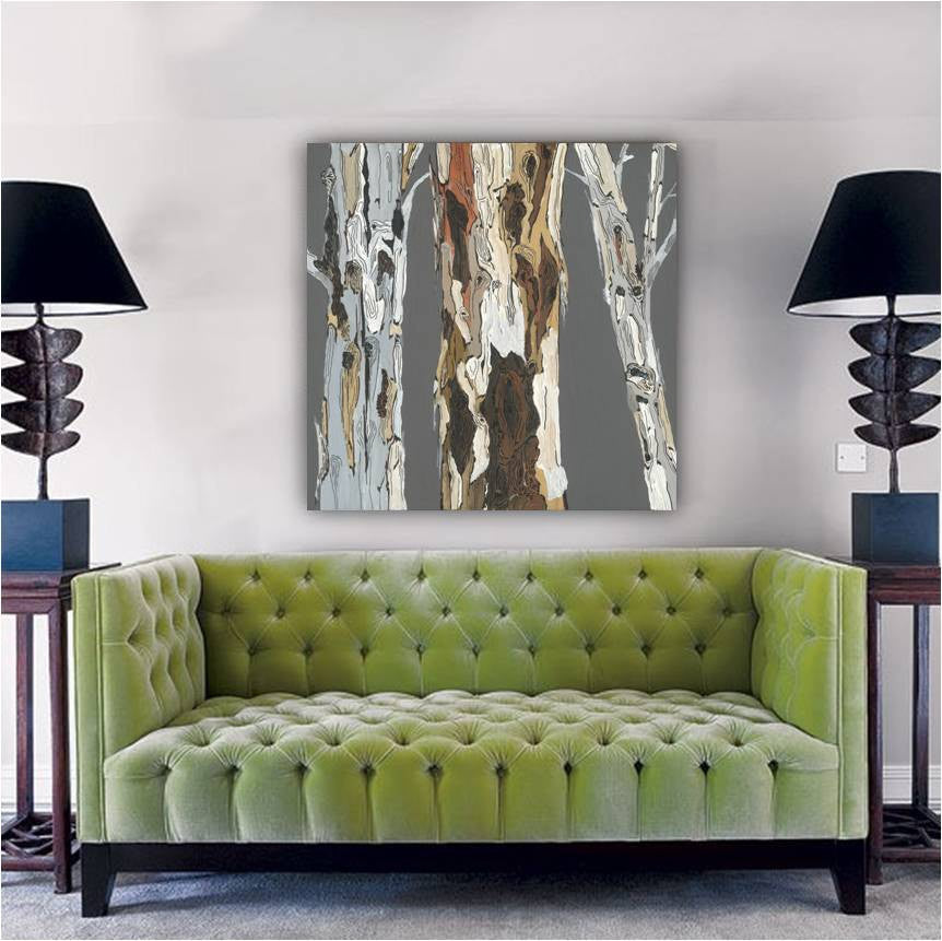 Extra large gray brown artwork canvas wall art print tree trunks landscape rustic home decor
