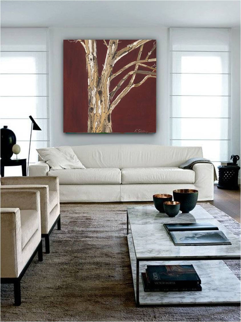 Large square oxblood red wall art modern canvas print office home decor tree trunks artwork giclee