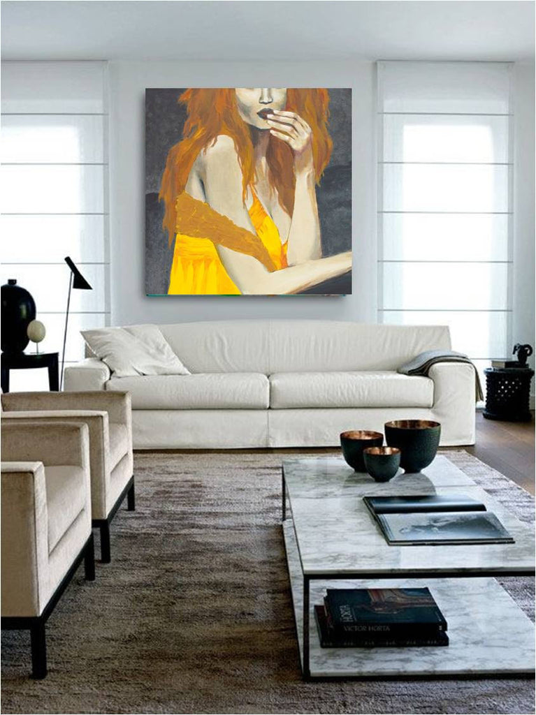 LARGE wall art canvas print orange yellow sexy redhead woman bedroom decor artwork