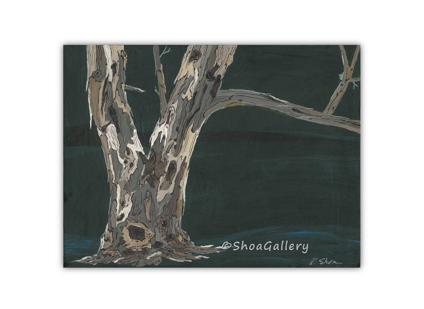 Green ORIGINAL acrylic painting of trees masculine canvas artwork landscape