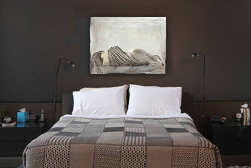 ORIGINAL large acrylic painting artwork sexy woman canvas art gray neutral taupe bedroom