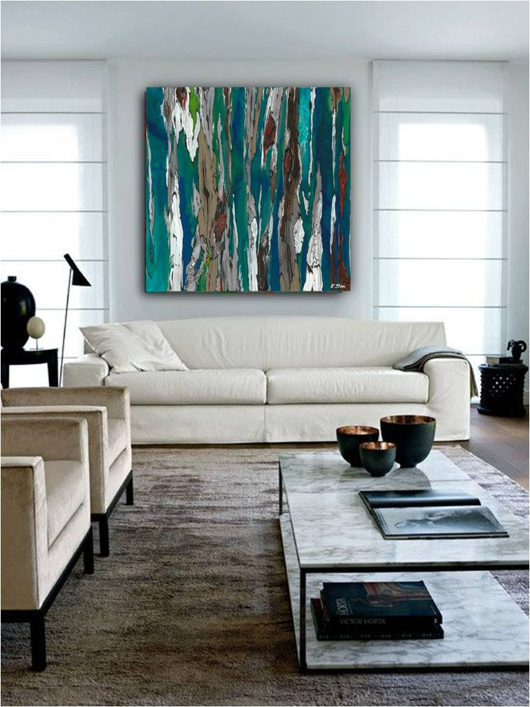 abstract modern artwork blue white