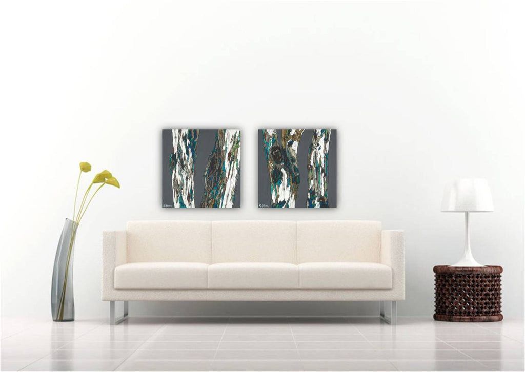 modern original paintings of trees, original modern tree art, large set of 2 paintings of trees, large diptych original paintings, extra large diptych, dining room wall art, living room artwork, extra large horizontal artwork, set of two painting of trees, gray modern paintings, modern large paintings of trees, paintings of tree trunks, modern artwork tree branches