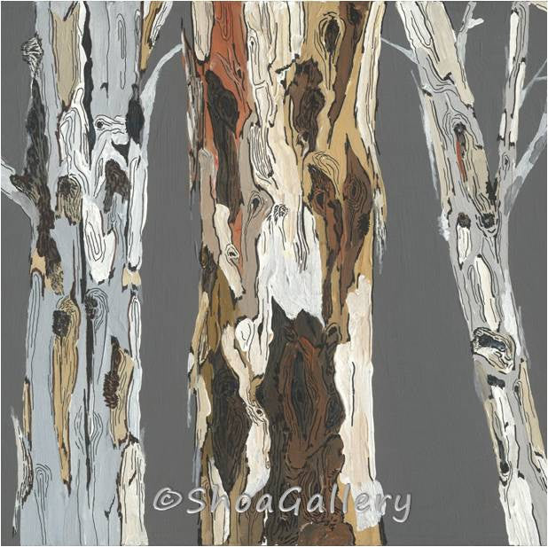 Gray brown modern wall art canvas print tree trunks landscape artwork rustic home decor