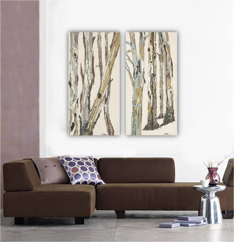 Extra Large artwork white print diptych wall art set huge canvas pastels tree trunks bedroom