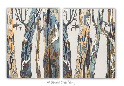 Extra large wall art white diptych set tree trunks for Tree trunk wall art