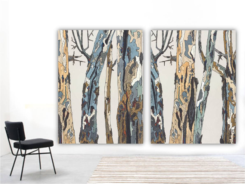 huge wall art tiptych trees
