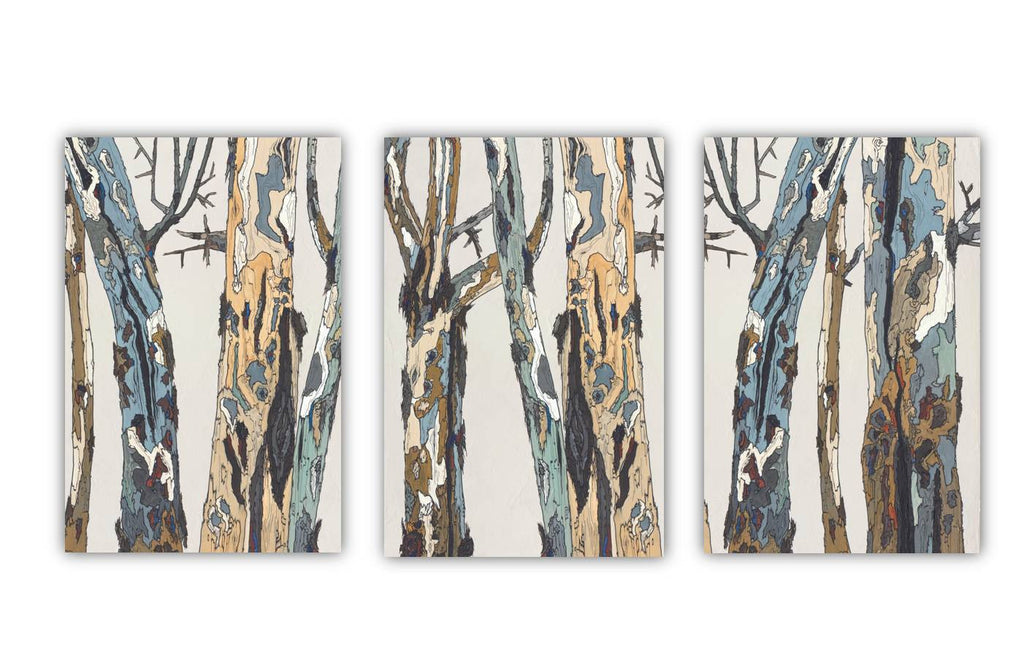 Huge triptych extra large wall art white blue brown canvas print tree trunks pastels