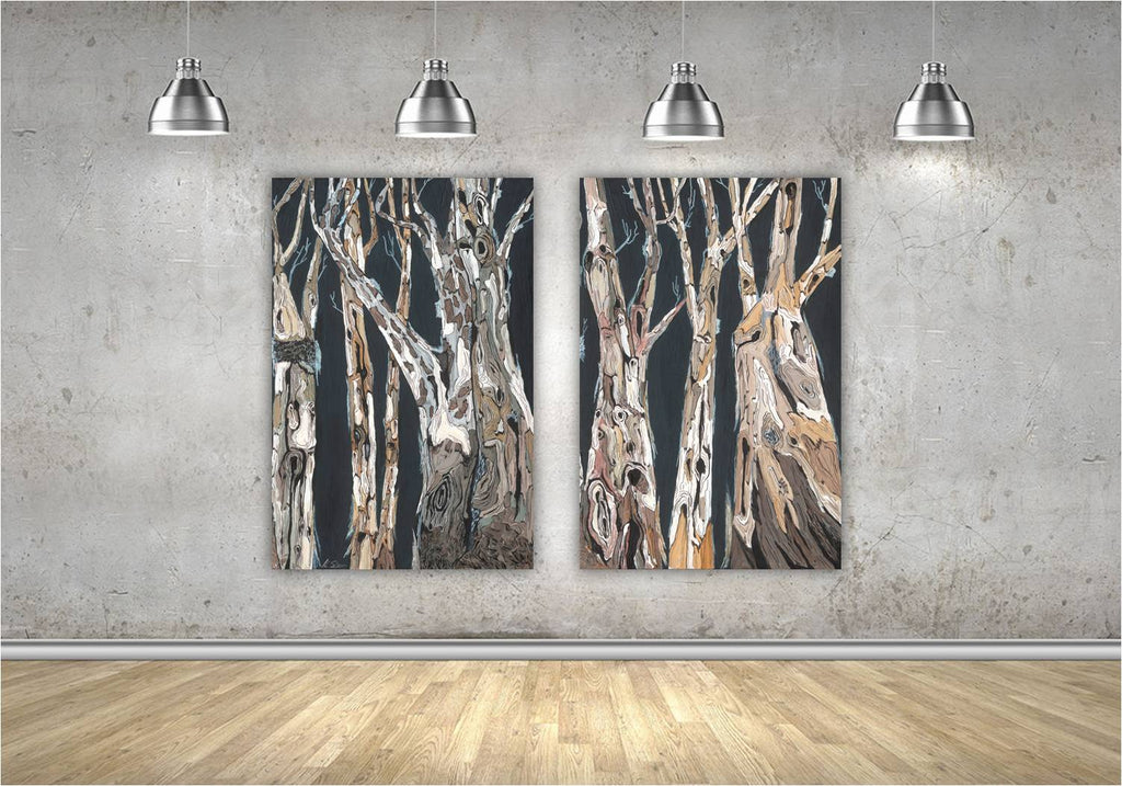 Oversized wall art diptych extra large modern artwork masculine black and white canvas giclee print