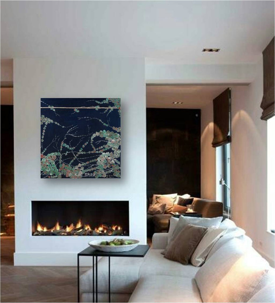 extra large wall art; modern blue artwork; chinese wall art; japanese wall art; asian inspired artwork; dark blue wall art over fireplace; wall art over sofa; artwork over couch; large entryway wall art; dark blue bedroom wall art; blue living room wall art; deep blue dining room wall art; vines on a wall art;