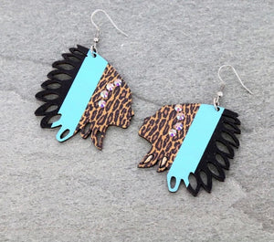 Turquoise Leopard Cactus wood Chief earrings