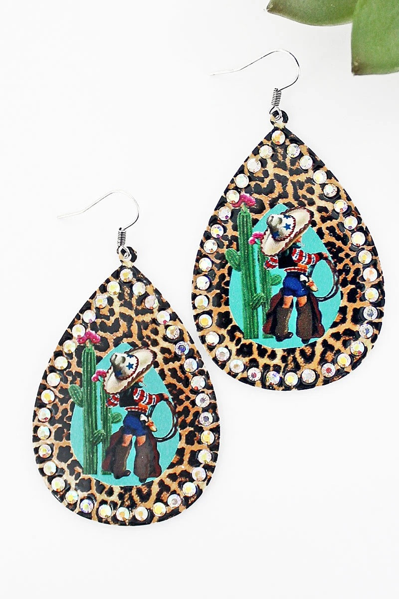 Leopard cactus glitzy cowgirl earrings