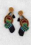 Beaded tropical bird earrings