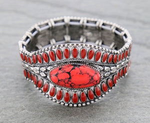 Red Turquoise western stretch bracelet