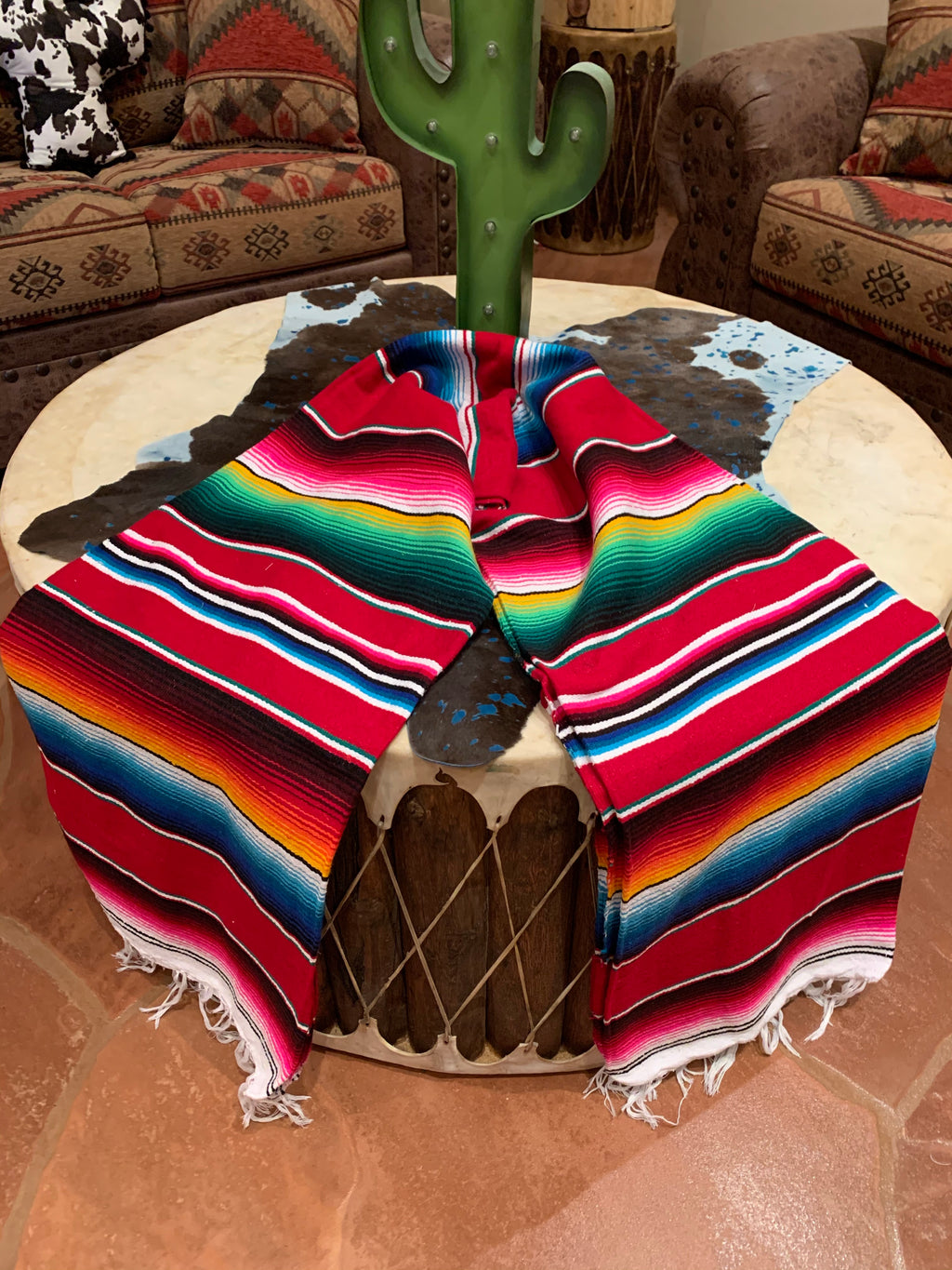 Red serape blanket 5'-7'