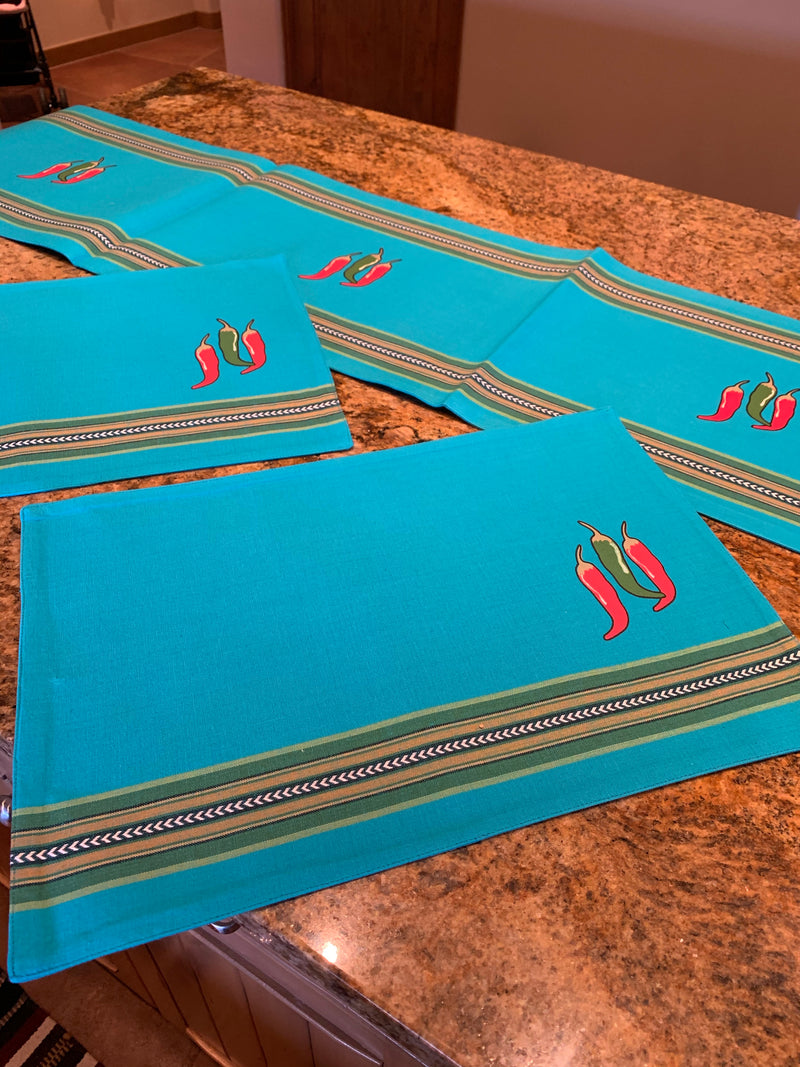 Turquoise chili pepper PLACEMAT