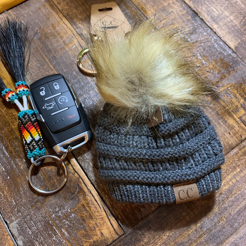 Dark grey CC beanie hat keychain