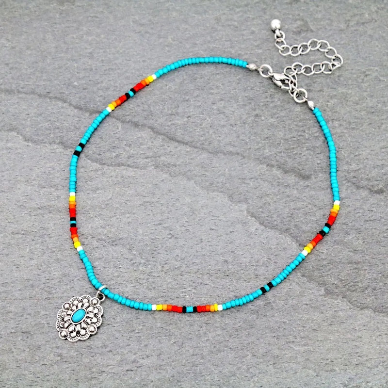 Turquoise concho seed bead CHOKER NECKLACE