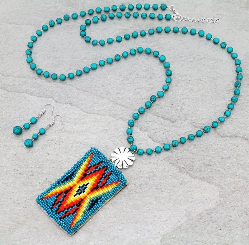 Handmade blue Southwest beaded pendant necklace