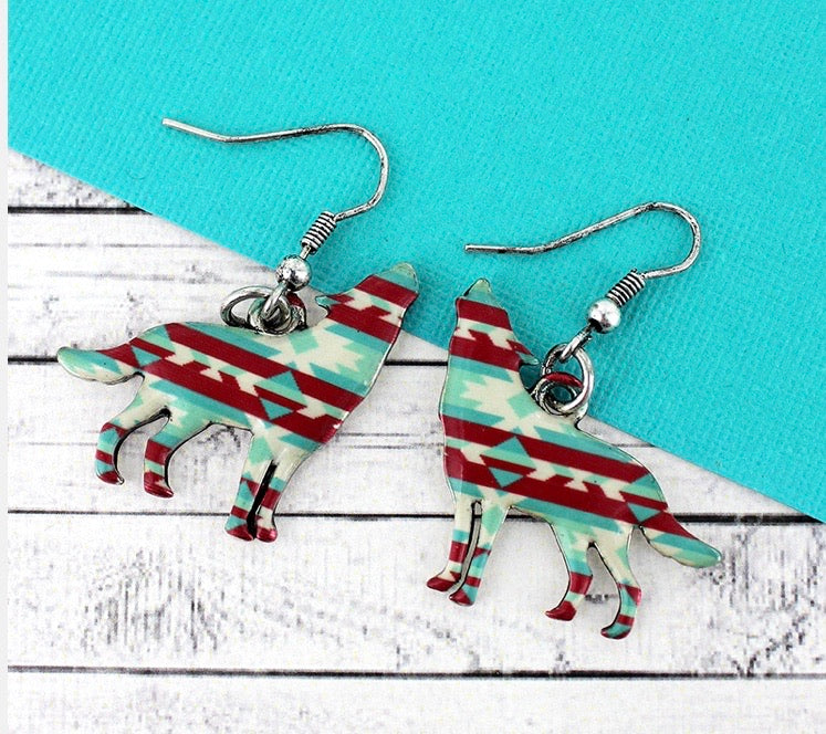 Aztec coyote earrings