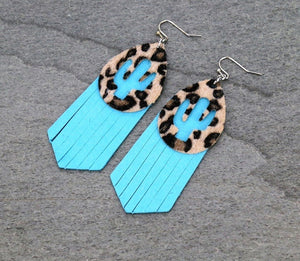 Leopard cactus fringe earrings