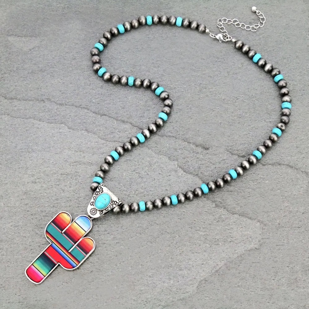 Navajo Large cactus serape necklace