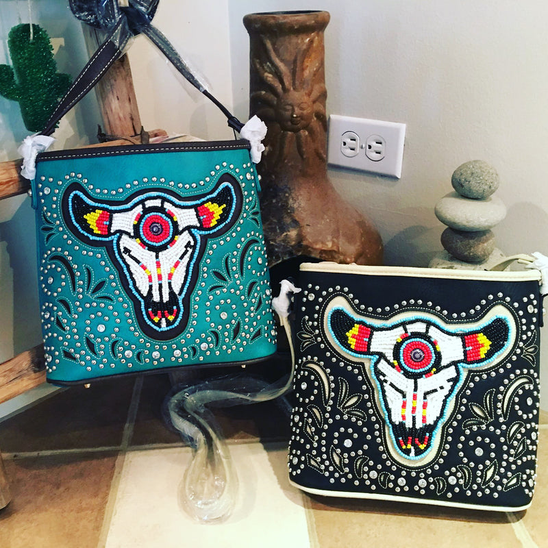 Beaded Ranch steer Crossbody purse