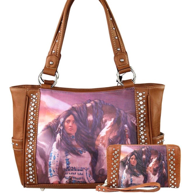 Horse art purse tote