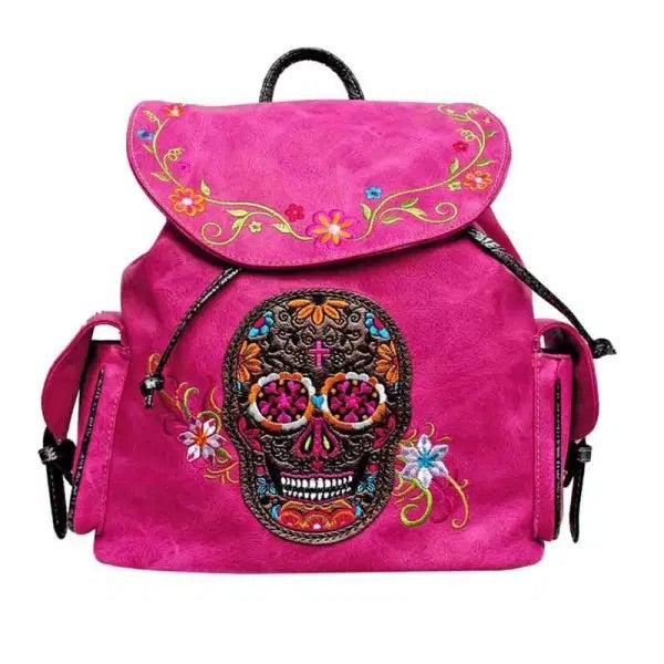 Sugar skull backpack purse